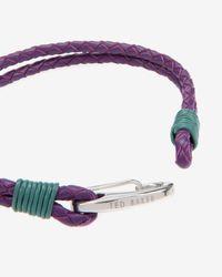 Ted Baker - Purple Woven Leather Bracelet for Men - Lyst