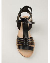 Buttero - Black Strappy Flat Sandals - Lyst