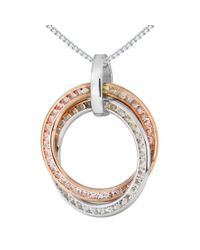 Ib&b | Metallic 9ct White Gold Cubic Zirconia Double Ring Pendant Necklace | Lyst