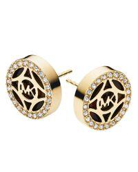 Michael Kors - Metallic Gold Tone-Plated Logo Studs - Lyst