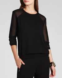 BCBGMAXAZRIA - Black Bcbg Max Azria Sweatshirt Aliah Sheer Sleeve - Lyst
