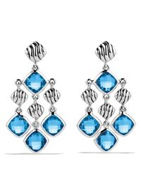 David Yurman - Sculpted Cable Chandelier Earrings With Blue Topaz - Lyst