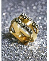 Free People - Metallic Pyrite Mixed Shape Ring - Lyst