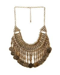 Forever 21 - Metallic Traveler Faux Coin Bib Necklace - Lyst