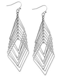 INC International Concepts | Metallic Silver-tone Multi-diamond Drop Earrings | Lyst