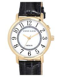Anne Klein - Black Instalite Leather Strap Watch - Lyst
