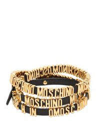 Moschino - Metallic Logo Lettering Leather Wrap Bracelet - Lyst
