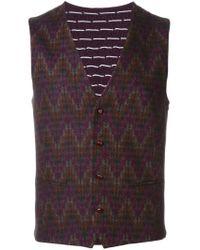 Etro - Purple Zig Zag Pattern Waistcoat for Men - Lyst