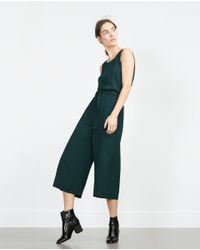 Zara | Green Fancy Cropped Jumpsuit | Lyst