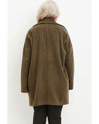 Forever 21 - Green Plus Size Longline Textured Dolman Coat - Lyst