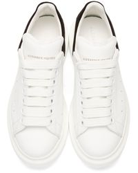Alexander McQueen - White Ivory & Black Leather Low-top Sneakers - Lyst