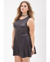 Lyst - Forever 21 Plus Size Faux Leather Skater Dress in Black d57a352a1
