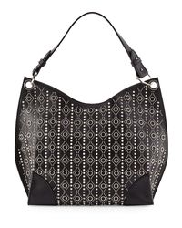 Alexander McQueen - Black Small Studded-Leather Hobo Bag - Lyst