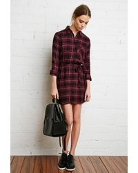 Forever 21 | Black Plaid Flannel Shirt Dress | Lyst