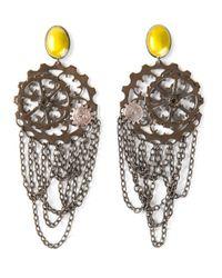 Bottega Veneta | Yellow Cog Wheel Earrings | Lyst