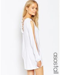 ASOS - White Tall Swing Dress With Split Sleeve And Lace Up Back - Lyst
