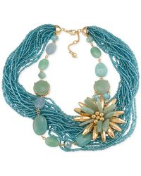 Carolee | Blue Gold-Tone Bead Torsade And Flower Stone Necklace | Lyst