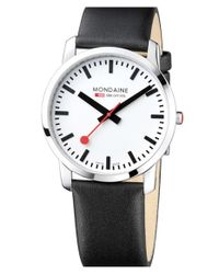 Mondaine - Metallic 'simply Elegant' Leather Strap Watch for Men - Lyst