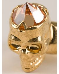 Alexander McQueen | Metallic Skull Diamond Ring | Lyst