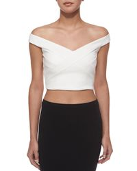 Nicholas - White Ponte Off-the-shoulder Crop Top - Lyst