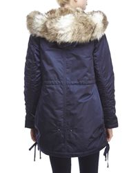 Laundry by Shelli Segal - Blue Faux Fur Trim Hooded Parka - Lyst