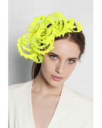 Philip Treacy - Yellow Neon Guipure Lace Headpiece - Lyst