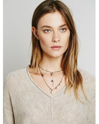 Free People | Metallic Womens Cherish 3 Chain Necklace | Lyst