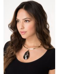 Bebe - Metallic Crystal Teardrop Necklace - Lyst