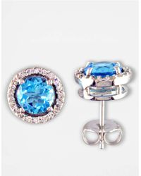Effy | 14 Kt. White Gold Blue Topaz And Diamond Stud Earrings | Lyst