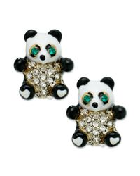 Juicy Couture | Black Gold-tone Panda Bear Stud Earrings | Lyst