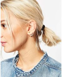 ASOS | Natural Limited Edition Moon & Star Mismatch Double Earrings | Lyst