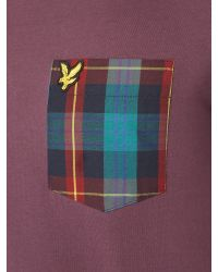 Lyle & Scott | Purple Tartan Woven Pocket Crew Neck T-shirt for Men | Lyst