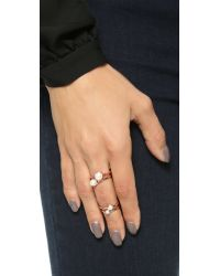 Eddie Borgo | Metallic Stackable Freshwater Cultured Pearl Rings - Rose Gold | Lyst