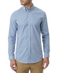 Lacoste - Blue Mini-check Long Sleeved Shirt for Men - Lyst