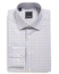 David Donahue - Blue Traditional Fit Check Dress Shirt for Men - Lyst