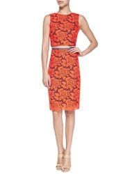 Nicole Miller Artelier | Multicolor Floral Lace Pencil Skirt | Lyst
