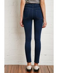Forever 21 - Blue High-waisted Skinny Jeans - Lyst