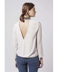 TOPSHOP - White Embellished High-neck Blouse - Lyst