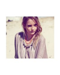 31 Bits | Metallic Gold And Orange Beaded Bib Necklace | Lyst