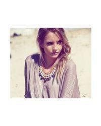 31 Bits - Metallic Gold And Orange Beaded Bib Necklace - Lyst