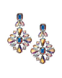 kate spade new york | Metallic Gold-tone Iridescent Glass Stone Chandelier Earrings | Lyst