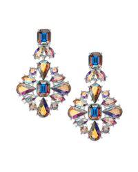 kate spade new york - Metallic Gold-tone Iridescent Glass Stone Chandelier Earrings - Lyst