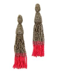 Oscar de la Renta | Red Ombre Tassel Clip On Earrings | Lyst