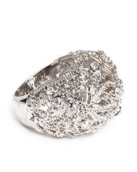 Alexander McQueen - Metallic Crystal Filigree Dome Ring - Lyst