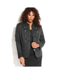 INC International Concepts - Gray Plus Size Zipfront Military Jacket - Lyst