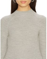 Lauren by Ralph Lauren | Gray Petite Ribbed Merino Wool Sweater | Lyst