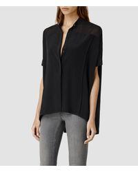 AllSaints - Black Fleet Shirt - Lyst