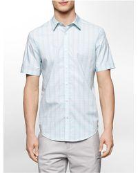 Calvin Klein - Blue White Label Classic Fit Multi Check Plaid Cotton Short Sleeve Shirt for Men - Lyst
