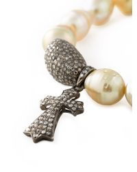 Loree Rodkin - Natural Crucifix Diamond Pearl Bracelet - Lyst