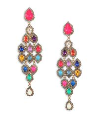 Erickson Beamon - Multicolor Telepathic Crystal Pear Cascade Chandelier Earrings - Lyst